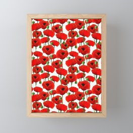 Red Poppy Pattern Framed Mini Art Print