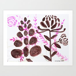 Flower Power: A Study in Pink, Black and White Art Print