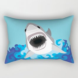 Great White Shark Attack Rectangular Pillow