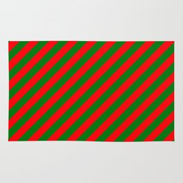Red and Green Christmas Candycane Stripes Rug