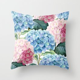 Pink Blue Hydrangea Throw Pillow