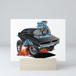 Classic 69 American Muscle Car Cartoon Mini Art Print