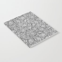 Coleus leaves pattern black and white Notebook