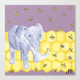 Elephant & Bees Canvas Print