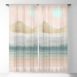Spring Forest Lake Sheer Curtain