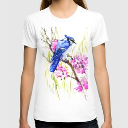 Blue Jay and Cherry Blossom, Blue Pink Birds and Flowers T-shirt