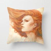 artgerm Throw Pillows featuring Pepper Breeze New by Artgerm™