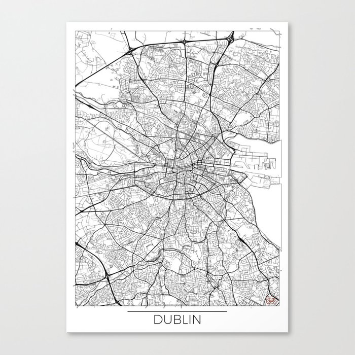 Dublin Map White Leinwanddruck