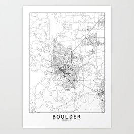 Boulder White Map Art Print
