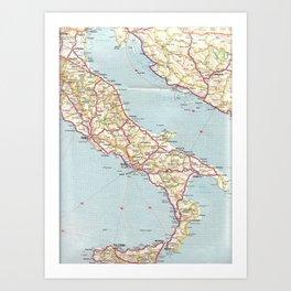 Italian Vintage Map of the Sixties Art Print