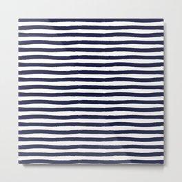 Navy Blue and White Horizontal Stripes Metal Print