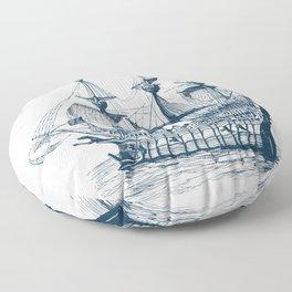 Blue vintage nautical wind sailing boat Floor Pillow