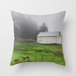 White Barn On A Foggy Morning Throw Pillow