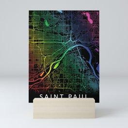 Saint Paul, MN, USA, City, Map, Rainbow, Map, Art, Print Mini Art Print