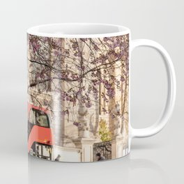 London Travel Spring Photography, Pink Flowers in Bloom and Red Double Decker Bus Coffee Mug