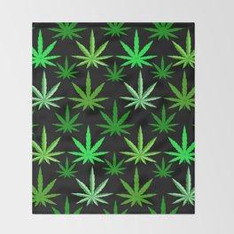 Marijuana Green Weed Throw Blanket