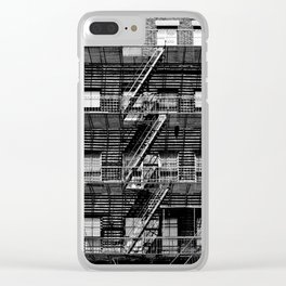 Fire escapes at noon Clear iPhone Case