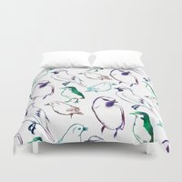 sia Duvet Covers featuring Coloured Birds by Elena O'Neill