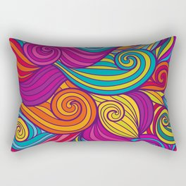 Vivid Whimsical Jewel Tone Retro Wave Print Pattern Rectangular Pillow