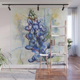 Spring Watercolor Texas Bluebonnet Flowers Wall Mural