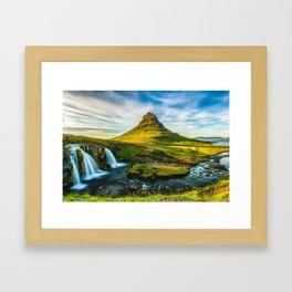 Triple waterfalls of Kirkjufell in Iceland I Framed Art Print