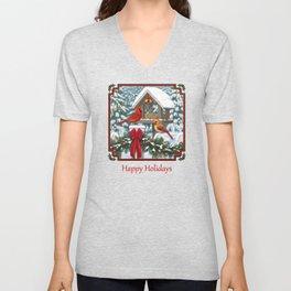 Red Cardinals and Christmas Bird Feeder Unisex V-Neck