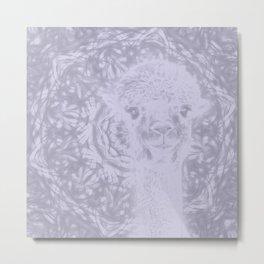 Ghostly alpaca and Lilac-gray mandala Metal Print