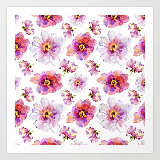 Delicate Floral Pattern 03 Art Print