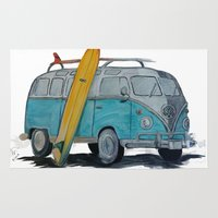 vw bus Area & Throw Rugs featuring VW Bus by AshyGough