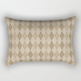 Textured Argyle in Tan and Beige Rectangular Pillow