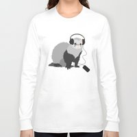 ferret Long Sleeve T-shirts featuring Music Loving Ferret by Boriana Giormova