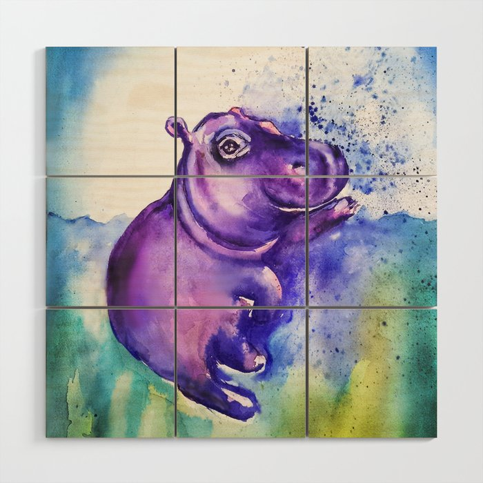 Fiona the Hippo - Splashing around Wood Wall Art by emmakaufmann ...