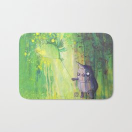 the shmorbled panda with an owl at the leash Bath Mat