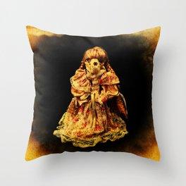 Halloween Horror In a Dress! Skull Doll Halloween Part 2 Throw Pillow