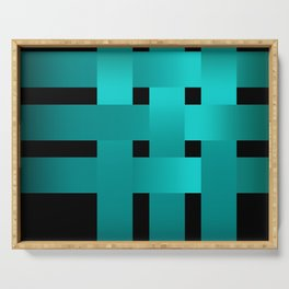 Abstraction .Weave turquoise satin ribbons . Patchwork . Serving Tray