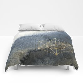 Sacred Geometry Indigo Blue & Gold Watercolor Comforters