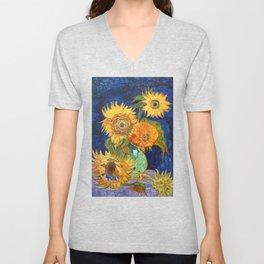 Van Gogh, Five Sunflowers 1888 Artwork Reproduction, Posters, Tshirts, Prints, Bags, Men, Women, Kid Unisex V-Neck