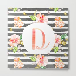 D botanical monogram. Letter initial with colorful flowers and gray stripes Metal Print