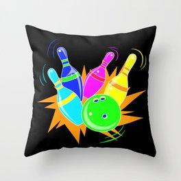 Neon Vintage Retro Strike Bowling. - Gift Throw Pillow