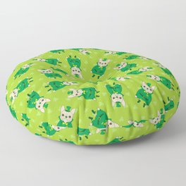 Cute French Bulldog is Feeling Lucky on St. Patrick's Day Floor Pillow