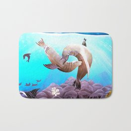 Sea Lions In Love Painting Bath Mat