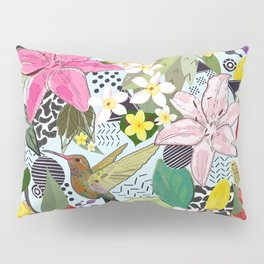 Tropical Pattern With Humming Bird, Strawberry and Colorful Lily Floral Pattern Pillow Sham