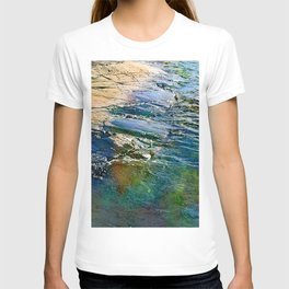 Colored sea waves licking the rock T-shirt