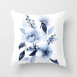 Navy Watercolor Flowers Throw Pillow