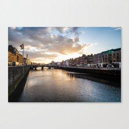 Dublin,  Liffey River at Sunset Canvas Print