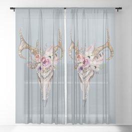 Deer Skull 2 Sheer Curtain