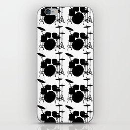 Drumset Pattern (Black on White) iPhone Skin
