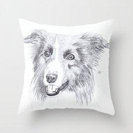 Border Collie Sketch Throw Pillow
