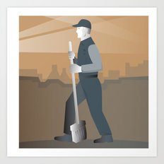 cleaner street sweeper with broom working retro Art Print