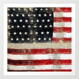 USA Flag ~ American Flag ~ Distressed Pattern ~ Ginkelmier Inspired Art Print